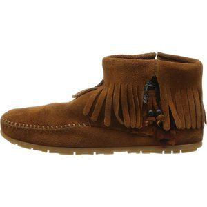 Minnetonka Girl's Concho Feather Boot - Brown - 2